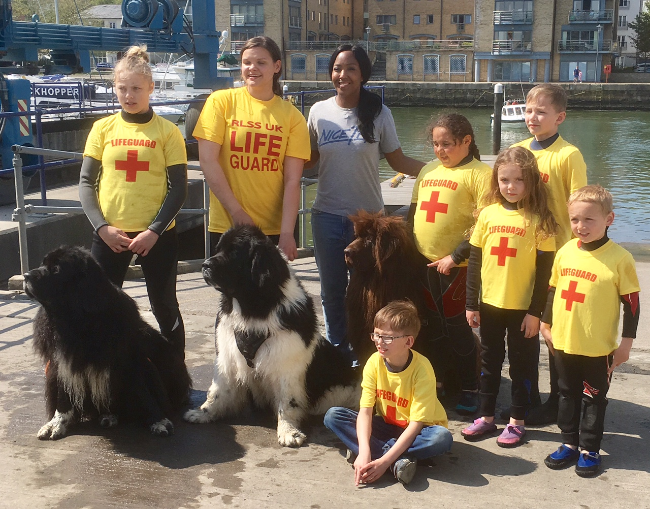 Young lifesavers pictured with presenter Angelica Bell